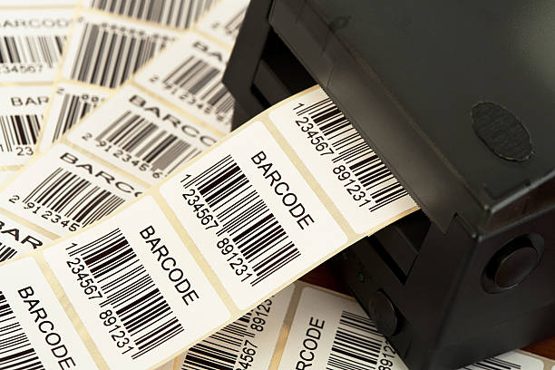 Lots of labels printed from a barcode printer stock photo