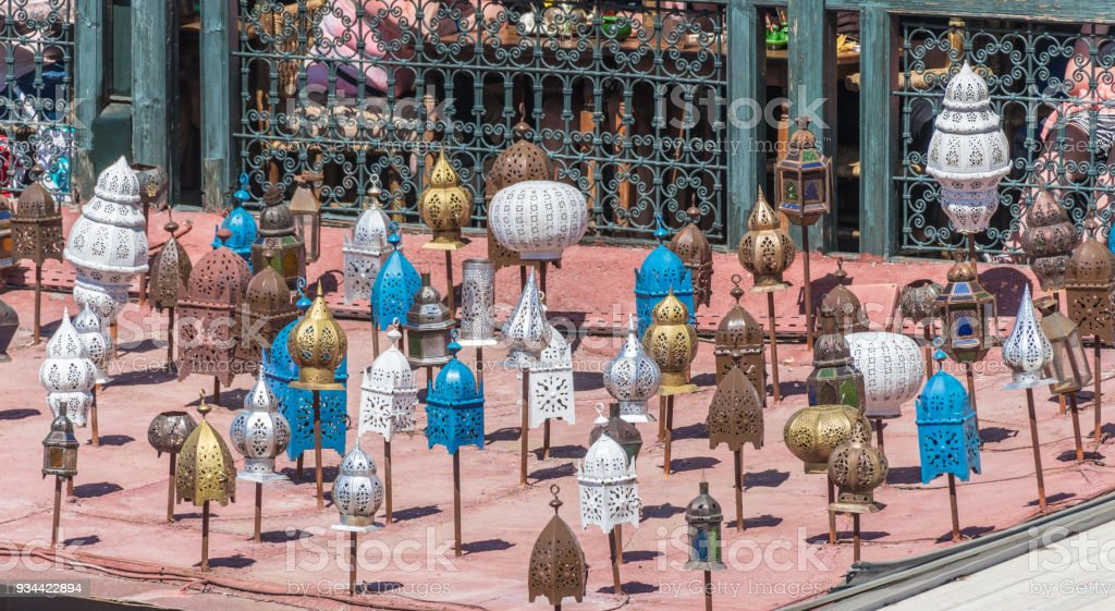 Lots of lanterns on a roof in Marrakesh stock photo