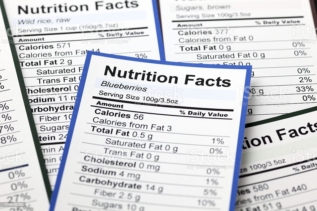 Lots of Nutrition facts stock photo