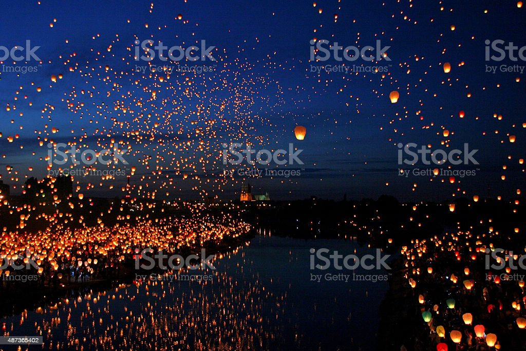 Lots of Paper Fly Lanterns next to the River stock photo