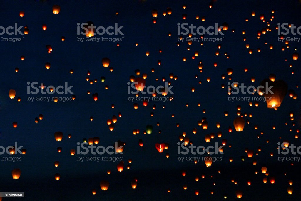 Lots of Paper Fly Lanterns stock photo