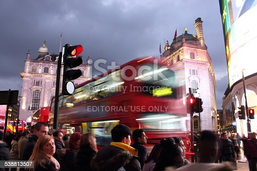 istock Lots of people, cars and typical buses in Piccadilly Circus 538813507