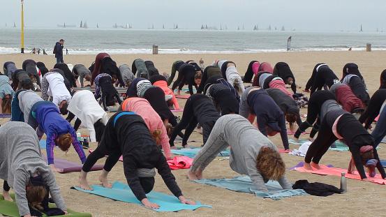 Veel Mensen Die Yoga Oefening Voor Gezondheid En Ontspanning Op Het Strand Stockfoto en meer beelden van Afdalen