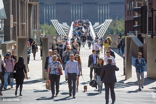 London, UK - September 10, 2015: Lots of people walking via Millennium bridge in the City of London business and banking aria