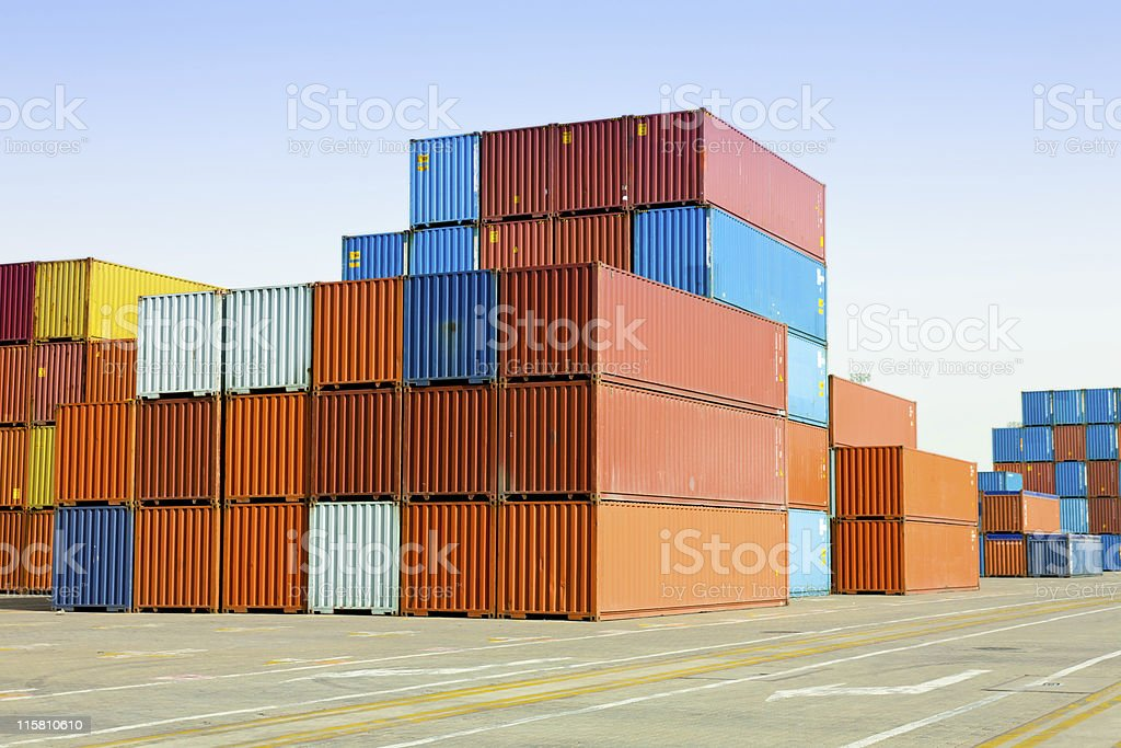 Lots of shipping container blocks royalty-free stock photo
