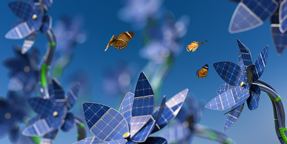 A macro image with shallow depth of field of a group of futuristic flowers with petals made from solar panels and stem made from cables. Three Orange Forester butterflies are in mid flight amongst the flowers. Butterflies have blurred motion. Focus is on the flower on the right hand side.