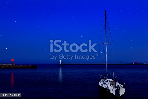 1039894076 istock photo Lots of stars shining over the sea and the lighthouse. 1191571607