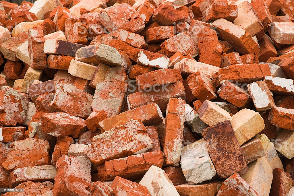 Lots of used brick in a big pile stock photo