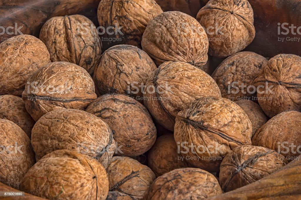 Lots of walnuts stock photo