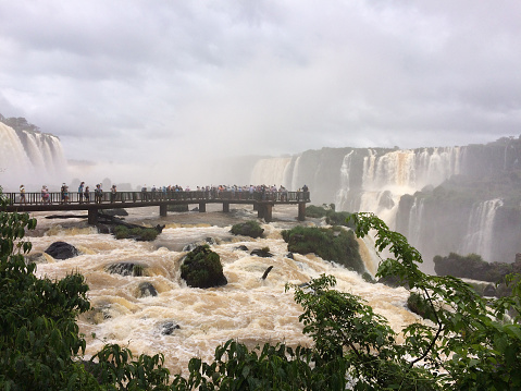 Cloudy day and the waterfall in Foz do Iguaçu