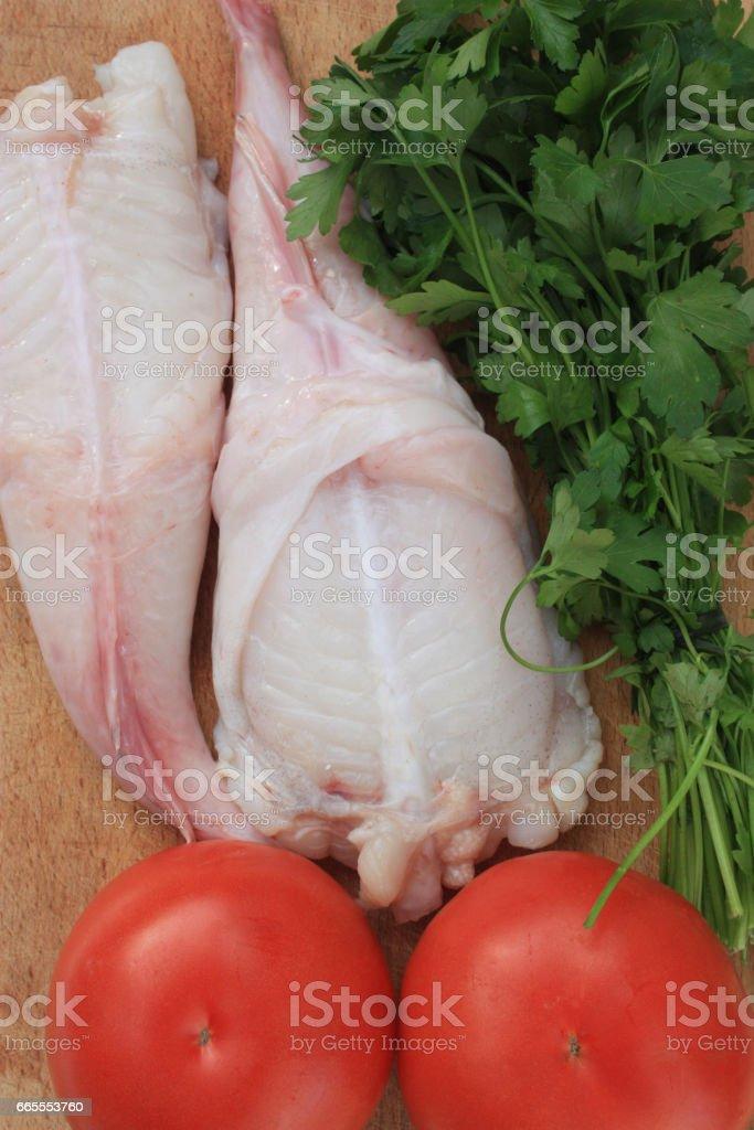Lotte de mer - Préparation en cuisine stock photo