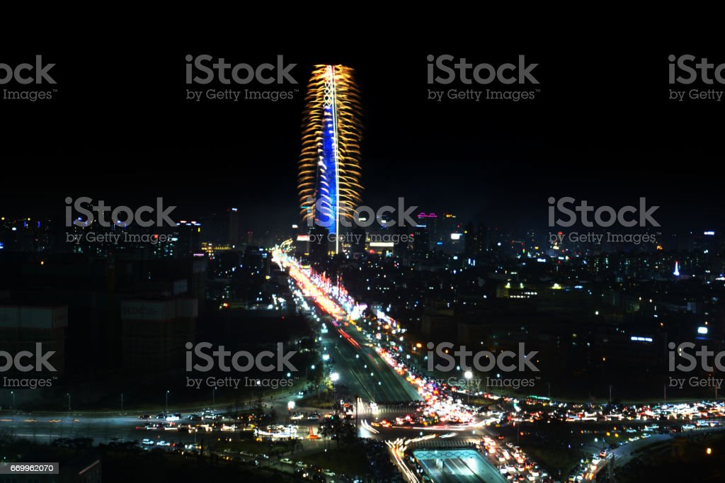 Lotte Tower Building Fireworks display show in Seoul, Korea stock photo