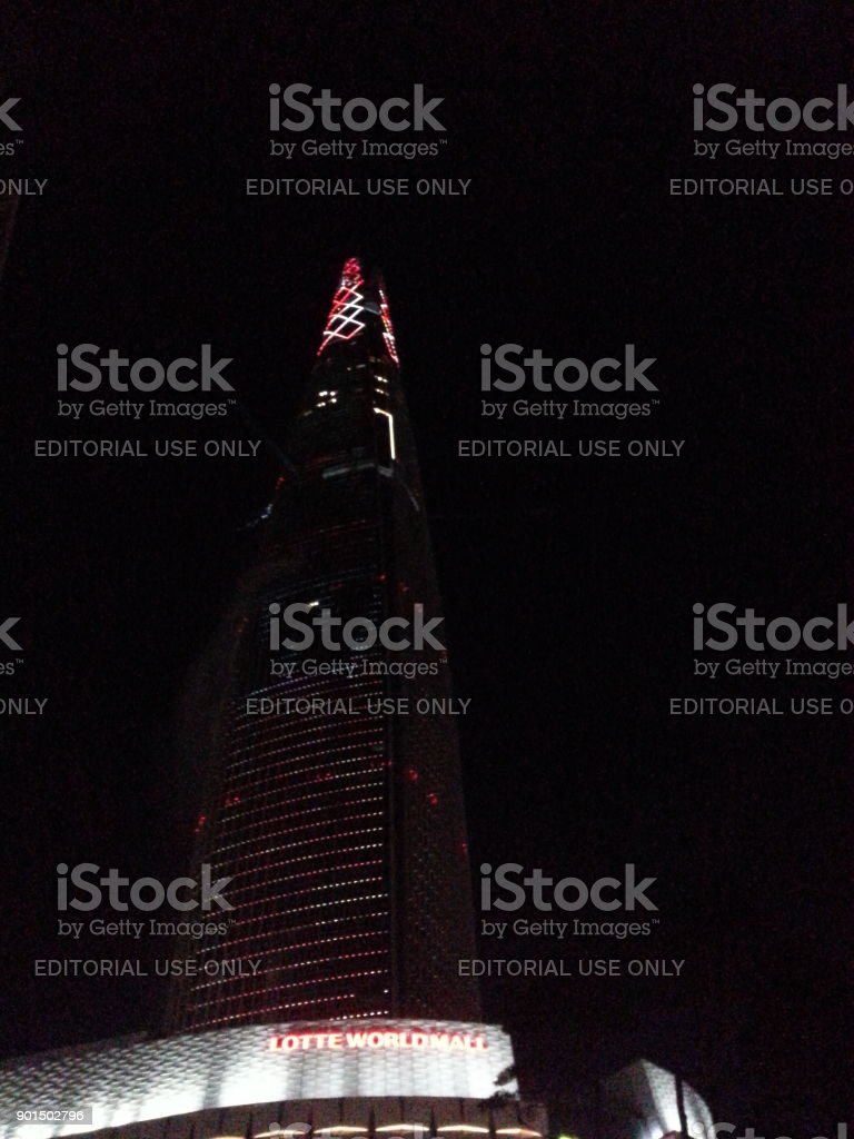 Lotte World Tower in Seoul, Korea, at the New Year Eve stock photo