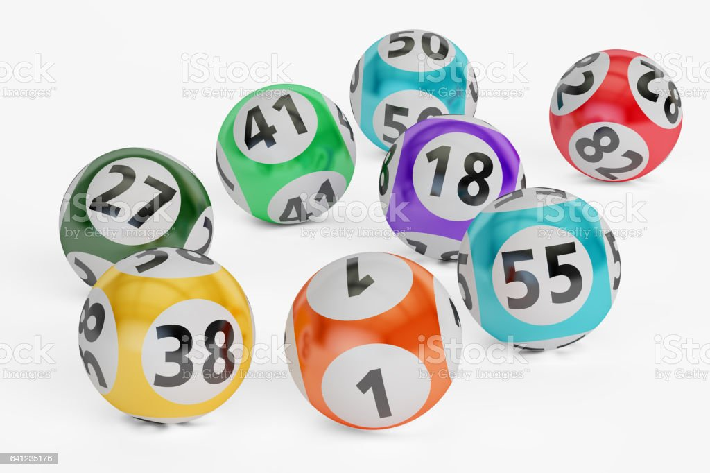 lottery balls closeup, 3D rendering isolated on black background – zdjęcie