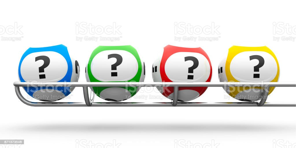 Lottery balls question stock photo