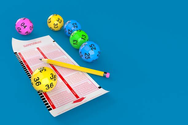 Lottery blank ticket with lotto balls Lottery blank ticket with lotto balls on blue background. 3d illustration lottery stock pictures, royalty-free photos & images