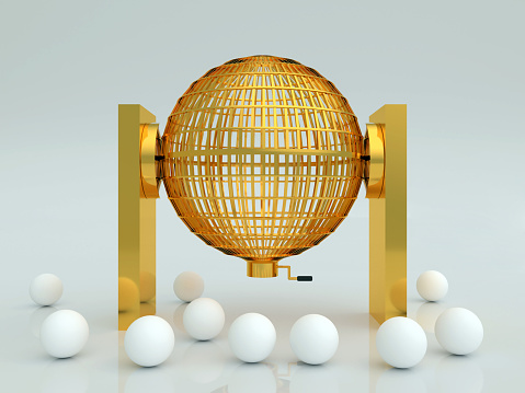 lottery cage in gold with white blank balls
