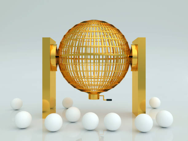 lottery cage in gold with white blank balls Golden lottery cage. National lottery with blank balls in white. Loteria nacional. 3d render, 3d illustration lottery stock pictures, royalty-free photos & images