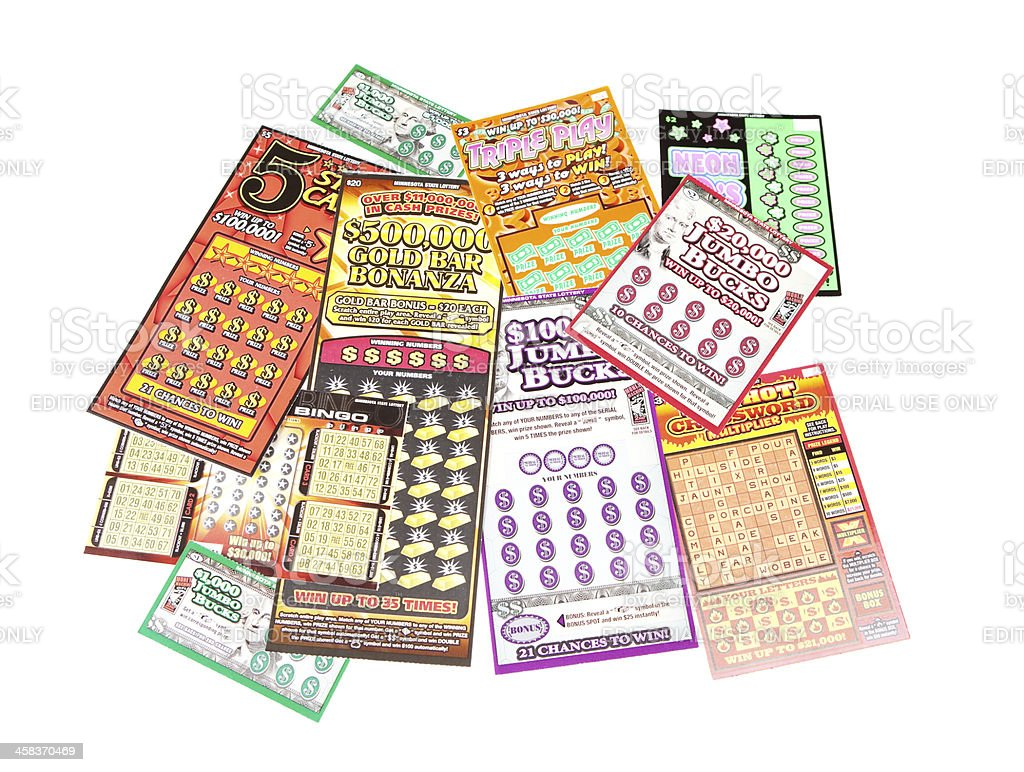Lottery Scratch Off Game Tickets stock photo
