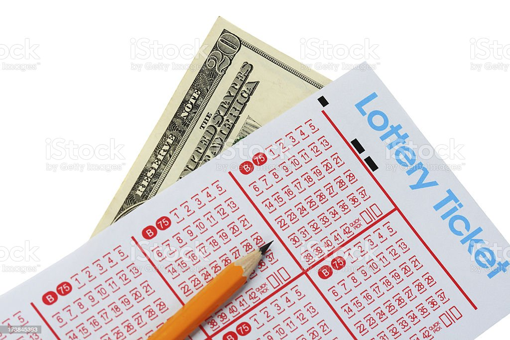 Lottery Ticket And Money stock photo