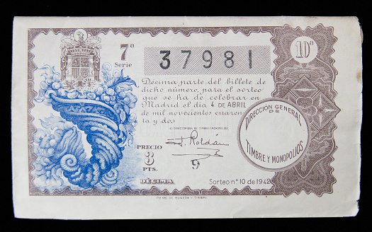 Lottery ticket of the year 1942 - Billete de loteria del año 1942