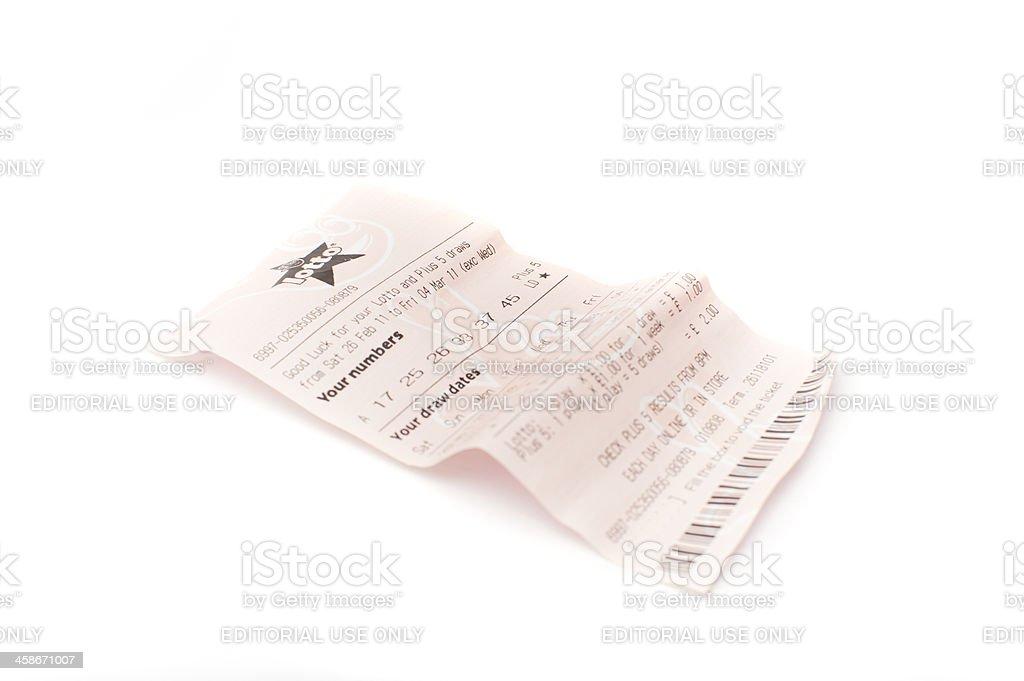 UK Lottery Ticket stock photo