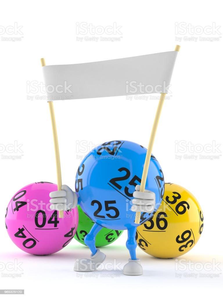 Lotto ball character holding blank banner zbiór zdjęć royalty-free