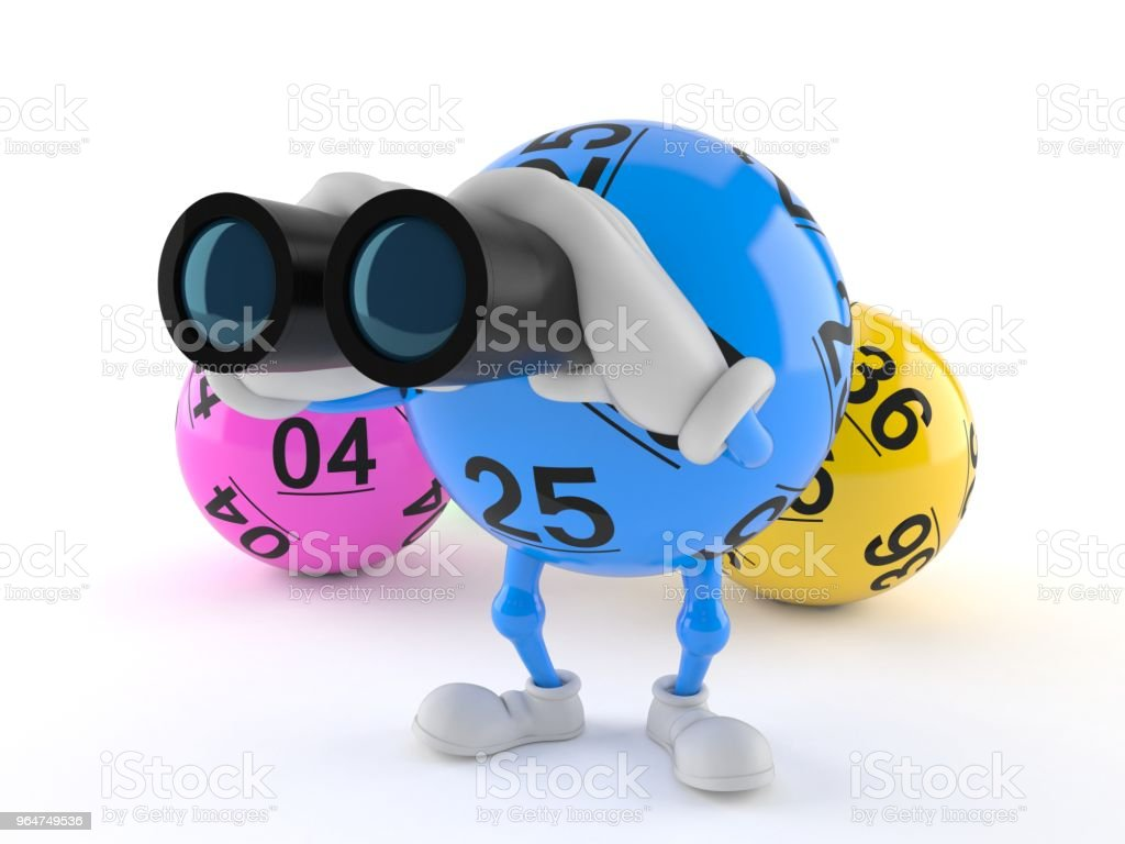 Lotto ball character looking through binoculars royalty-free stock photo