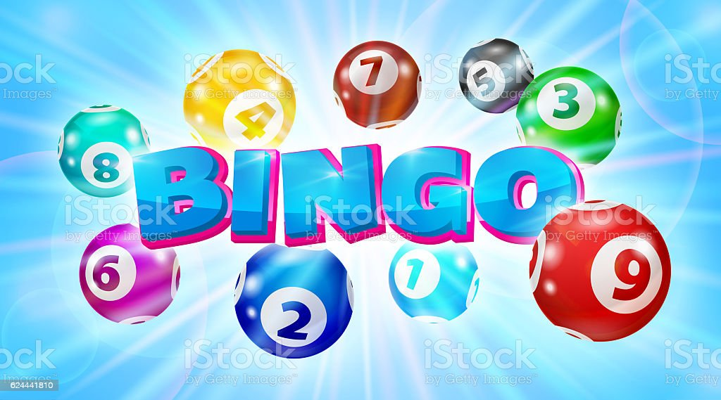 Lotto balls around the word Bingo glowing blue background stock photo