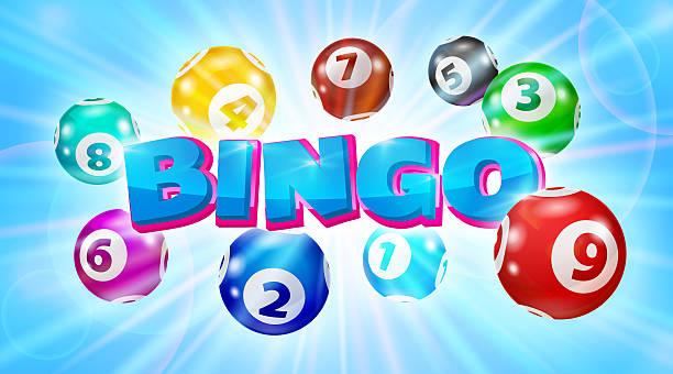 Lotto balls around the word Bingo glowing blue background圖像檔