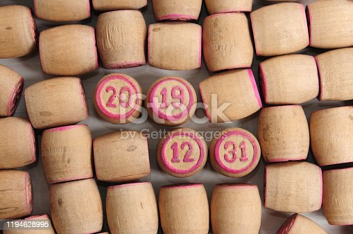 1018565666 istock photo Lotto kegs with New Year calendar dates 1194628995