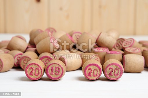 1018565666 istock photo Lotto kegs with New Year calendar dates 1194629009
