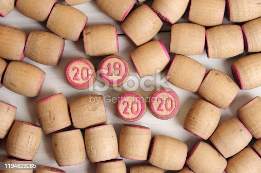 1018565666 istock photo Lotto kegs with New Year calendar dates 1194629265