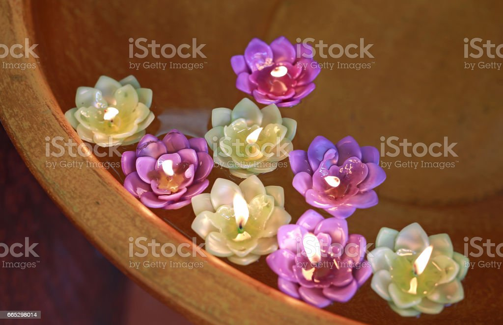 Lotus candle. stock photo
