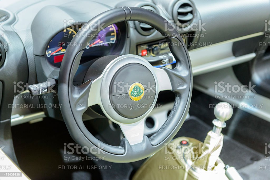 Lotus Elise compact sports car minimalistic interior stock photo