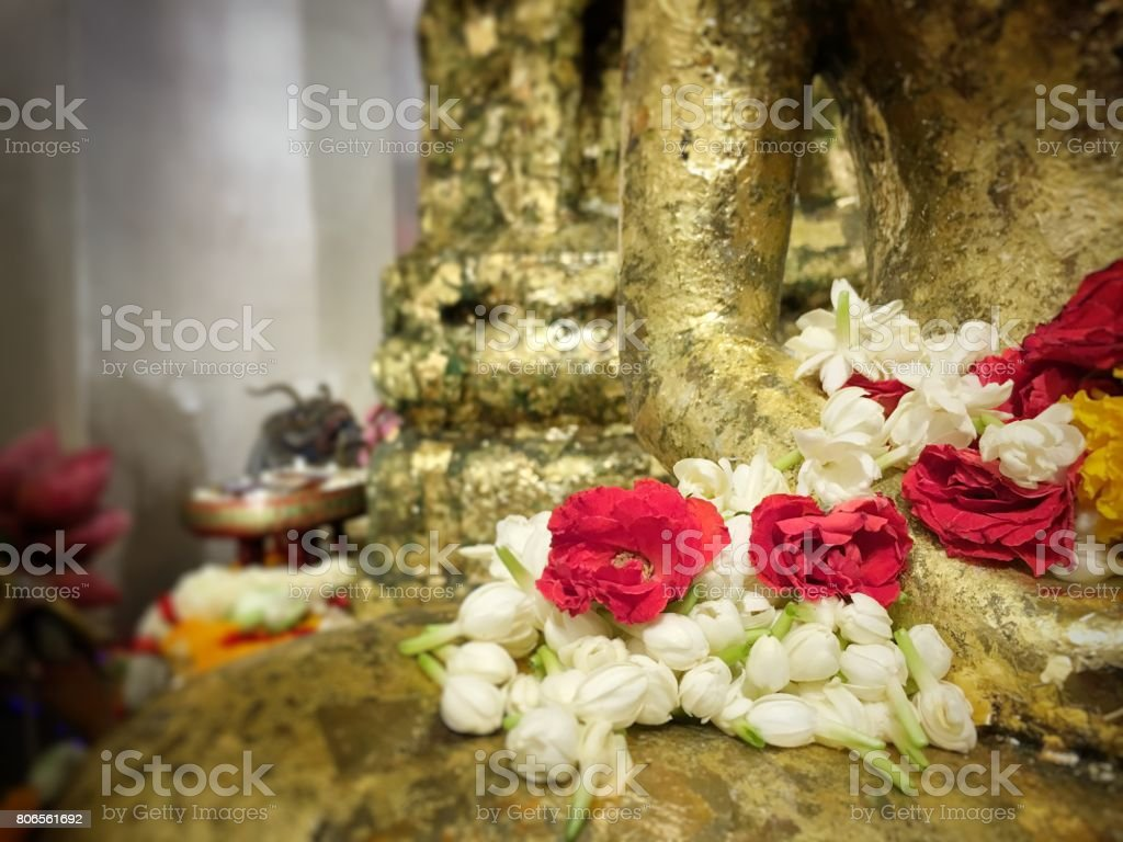 Lotus flower on hand golden buddha statue stock photo more lotus flower on hand golden buddha statue royalty free stock photo izmirmasajfo