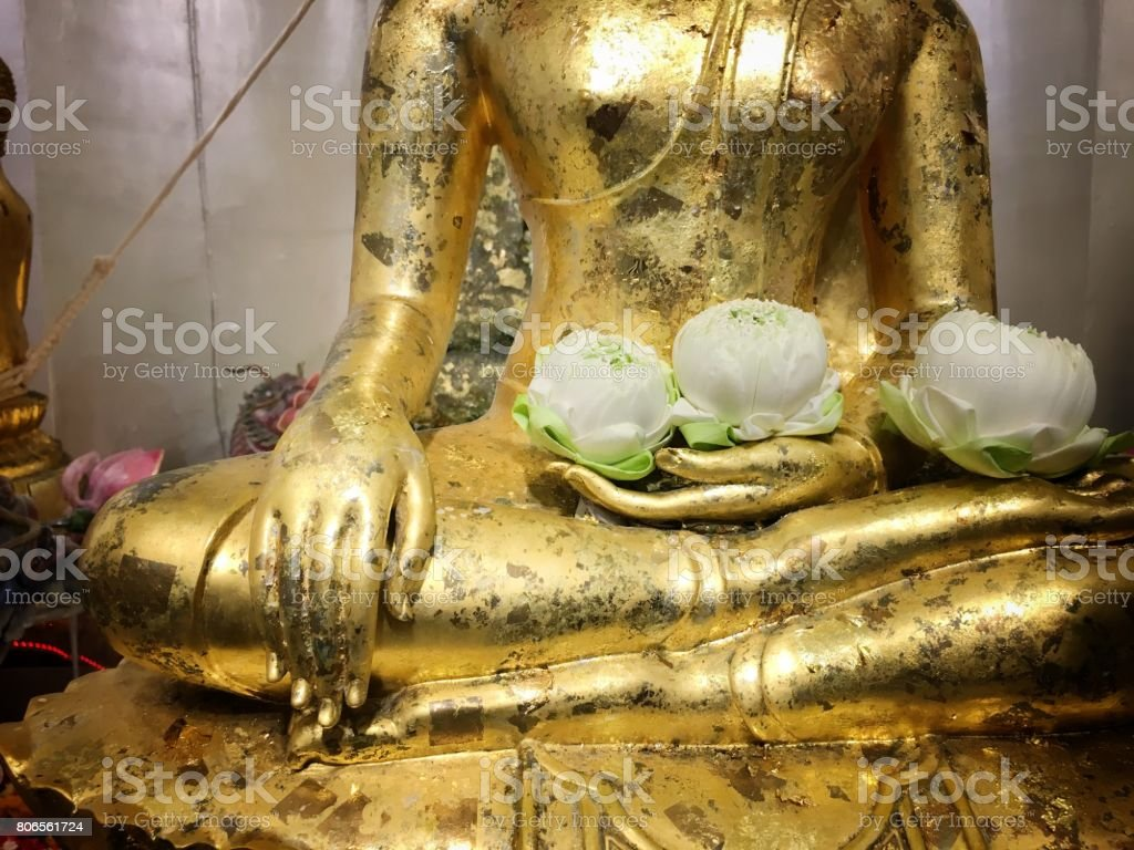 Lotus flower on hand golden buddha statue stock photo more lotus flower on hand golden buddha statue royalty free stock photo izmirmasajfo