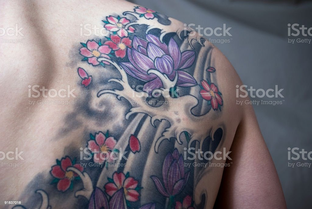 Lotus Flower Tattoo royalty-free stock photo