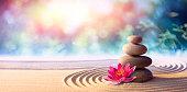 istock Lotus Flower With Spa Stones In Rock Garden 1258114267