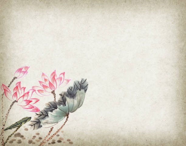 lotus flowers hand drawn with ink,chinese watercolor painting - cultura cinese foto e immagini stock