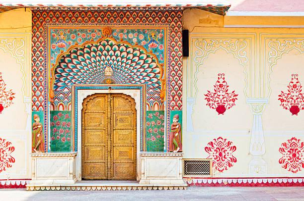lotus gate - pitam niwas chowk , city palace jaipur - palats bildbanksfoton och bilder