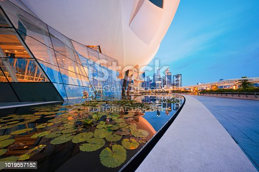 Lotus in downtown Singapore city in Marina Bay area with blue sky. Financial district and skyscraper buildings.