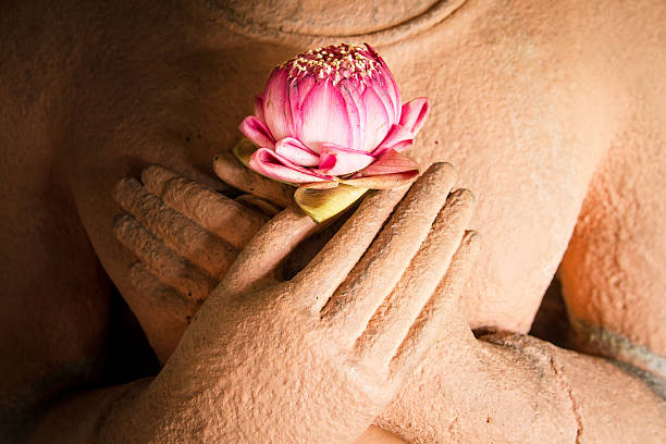 Lotus in the hands of sandstone Buddha. – Foto