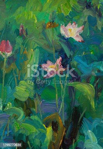 istock Lotus Oil Painting 1299270634