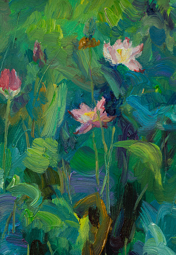 flower over water with lotus leaf aside