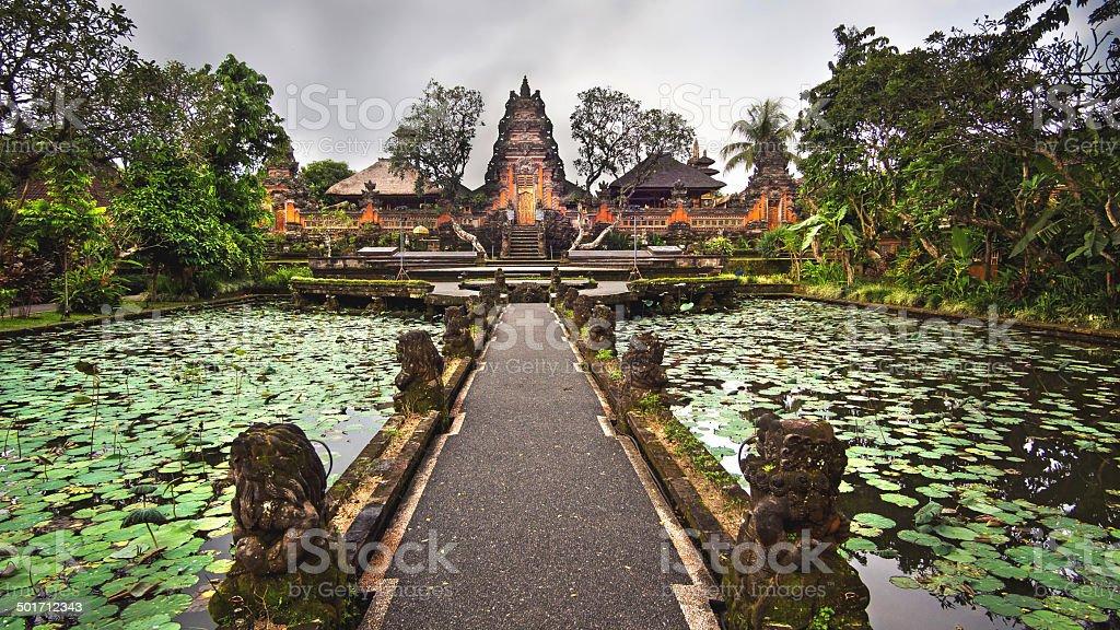 Lotus Pond and Pura Saraswati Temple in Ubud, Bali, Indonesia stock photo