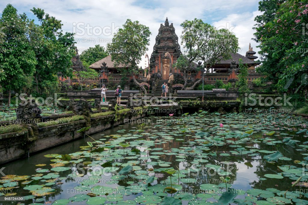 Lotus pond in Saraswati temple in Ubud stock photo