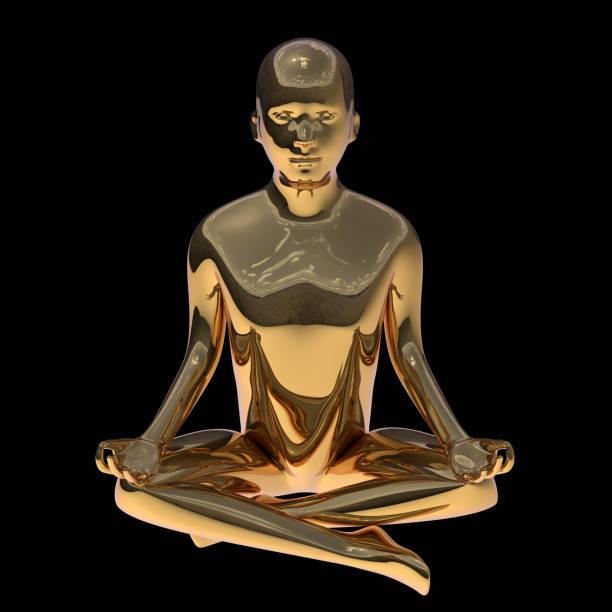 lotus pose goldenen yoga mann stilisierte figur poliert solide - achtsamkeit persönlichkeitseigenschaft stock-fotos und bilder