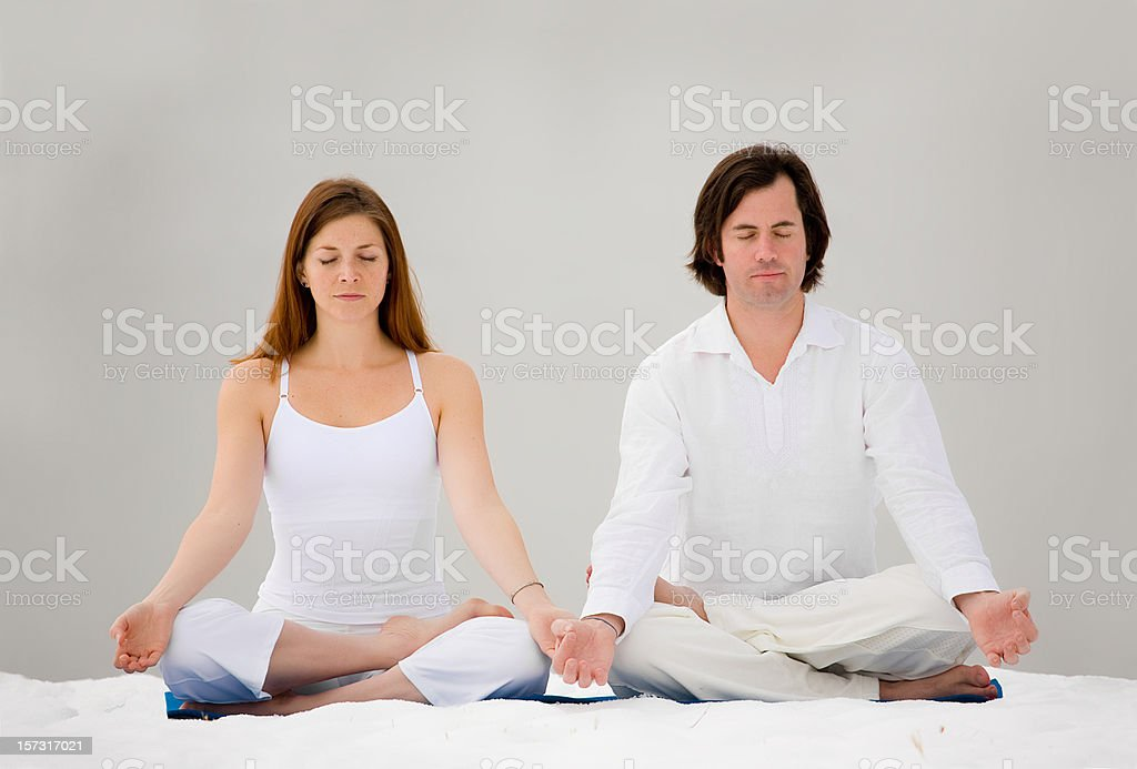 Lotus Position Meditating in Snow royalty-free stock photo