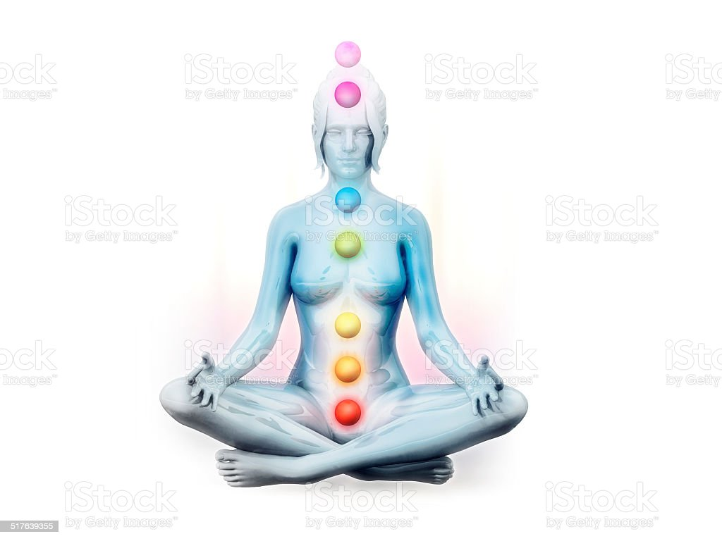 Lotus position meditation with visible chakras stock photo